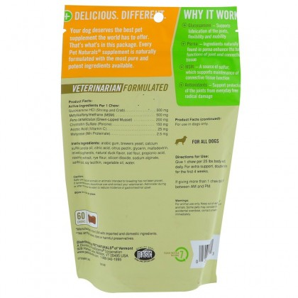 Pet Naturals of Vermont, Hip + Joint Pro, For Dog, 60 Chews